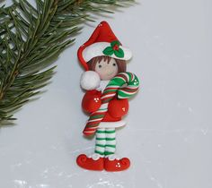 Holiday Christmas Pin Brooch Polymer Clay Little by DesignsByWho, $15.00
