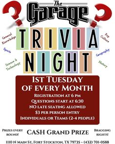 Next Trivia Night is Tuesday March 1 - The last one was awesome! Plenty of variety on questions and categories - you never know who might come out on top! Get your teams together or come play solo and get ready for a night of challenging trivia fun with friends and PLENTY of laughs!