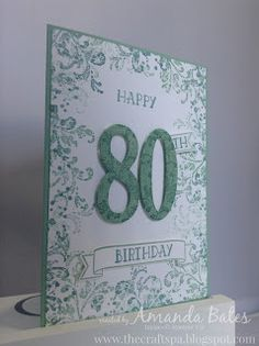 handmade birthday card from The Craft Spa ... monochromatic ... big die cut numbers form focal point ... tone on tone stamped cardstock used for the die cuts ... lu ow the lacy flourish stamped was used to color the borders ... Stampin' Up!