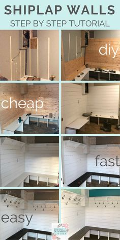 Our step-by-step tutorial shows you how you to make and install faux shiplap into your home on a budget! Our entryway bench features on of the best shiplap wall ideas you will find! Faux Shiplap, White Shiplap, Diy Shiplap Walls, Shiplap Bathroom Wall, Plank Walls, Home Upgrades, Home Renovation, Home Remodeling, Basement Renovations