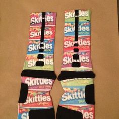 "Custom nike elite socks ""skittles"""