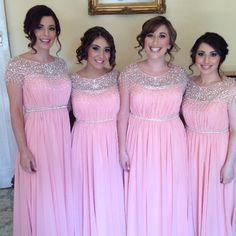 Find a Shinning Beaded Chiffon Bridesmaid Dresses Long Crystals Pink  Bridesmaid Dress Fashion Women Wedding Guest 5e856c145ce9