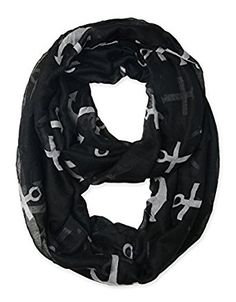 corciova Fashionable Women's Soft Anchor Infinity Scarf Loop Autumn Winter Anchor Black $11.99 Free Shipping