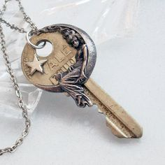 She Hung the Moon - Vintage Key Pendant Necklace Jewelry at Gypsy Trading Company on Etsy. Item sold.
