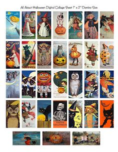 Free Vintage Halloween Domino Digital Collage Sheet