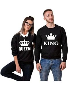 8d4b4b5af6 Amazon.com: Beilihong The King And His Queen Grey Couple T-Shirt Round Neck  Loose Couple Shirt Grey-The king X-Large: Clothing