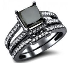 Black Diamond Wedding Band Sets