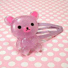 Pastel Purple Glitter Bear Hair Clip/Barrette/Hair Snap. $3.50, via Etsy.
