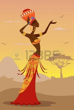Vector Illustration of African Woman photo
