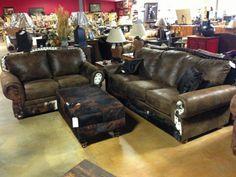 Rustic furniture Living Room Inspiration, Rustic Living Room, Cowhide Furniture, Western Living Rooms, Western Furniture, Furniture, Dream Furniture, Cabin Furniture, Couch Furniture