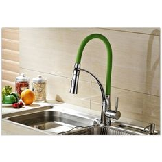 Chrome Kitchen Sink Faucet with Leather Pull Out Tube