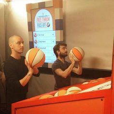 James McAvoy and Daniel Radcliffe playing basketball at the San Diego Comic-Con!  #VictorFrankenstein