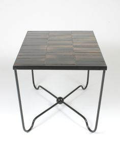 Denyse Gatard; Enameled Metal And Ceramic Tile Coffee Table, 1950s.