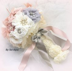 ***Made Upon Request- This piece can be made in ANY color scheme  Divine, ever lasting, chic is this bridal brooch bouquet. Crafted in shades of ivory,