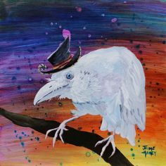 Albino, White, blue eyed Raven, Crow wearing a whimsical hat perched on tree limb print by JaimeHaneyArt on Etsy
