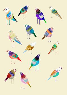 The Birdies. Limited edition art print by Ashley Percival only. Art Print.. $40.00, via Etsy.