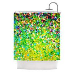"""Ebi Emporium """"Holiday Cheer"""" Yellow Green Shower Curtain   KESS InHouse"""
