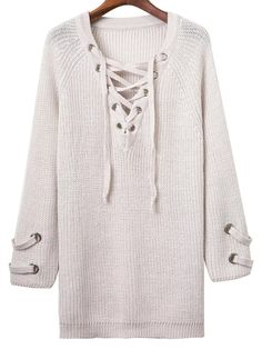 Shop White Eyelet Lace Up V Neck Knit Dress online. SheIn offers White Eyelet Lace Up V Neck Knit Dress & more to fit your fashionable needs.