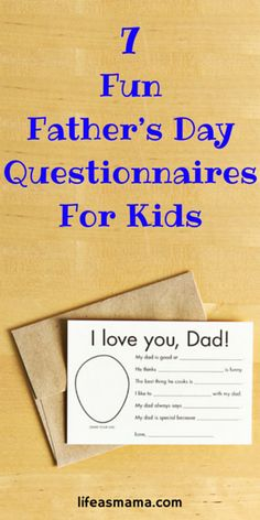 "Need a great craft for Father's Day? These questionnaires that are ""all about dad"" are perfect for a keepsake and for a good laugh."