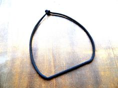 Black minimalistic geometric crochet necklace by zsazsazsu1963
