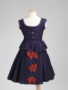 1876 American girl's dress, wool and silk ensemble. via MMA.