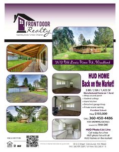 Real Estate For Sale: $103,000-3 Bedroom, 2 Bath, 1425 SF One Level Manufactured HUD Home w/Wrap-Around-Porch on 1 Acre in Woodland, WA! Thanks for sharing Julie Baldino, Front Door Realty, Vancouver, WA!   #RealEstate #ForSaleRealEstate #RealEstateForSale #WoodlandRealEstate #RealEstateWoodland #OldLewisRiverRoadRealEstate #RealEstateOldLewisRiverRoad #OldLewisRiverRoad #OneLevel #OneLevelRealEstate #RealEstateOneLevel #OneAcreRealEstate #HUDHome #HUDRealEstate #DoubleGarageShop