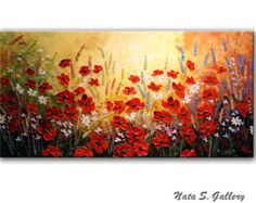 SUNFLOWERPoppy Original Painting.Modern Sunflower by NataSgallery