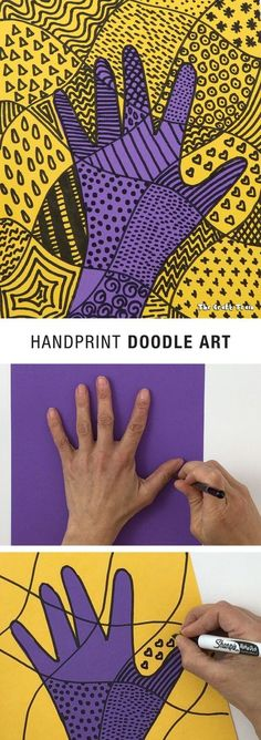 Handprint doodle art for kids. Fun art activity!
