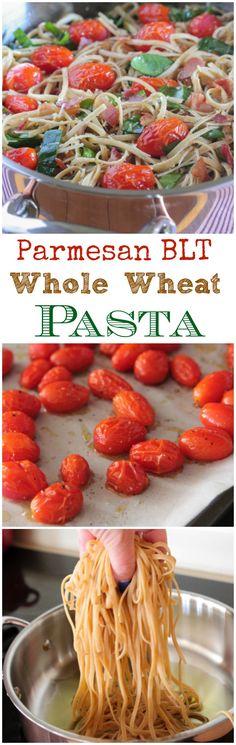 Parmesan BLT Whole Wheat Pasta, quick and simple weeknight dinner! #dinner #pasta #weeknightdinner