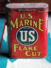 Vtg. U.S. MARINE FLAKE CUT American Tobacco Co. Tin Advertising