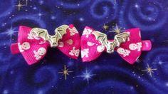 Mini Bat Hair Bows Hot Pink Skull Print Bows by Th1rte3nsCloset, $6.00
