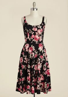 Blossoms Up Floral Dress | Mod Retro Vintage Dresses | ModCloth.com  A pause in the buzz of activity at your picnic reveals itself to be a toast to you in this black A-line! As everyone gathers around to raise a glass, they adore the pink rose print and textured knit of this midi sundress, giving a 'hip, hip, hooray!' to you and your style alike.