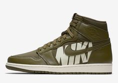 27a921a45e6793 The Air Jordan 1 High OG Olive Canvas (Style Code  comes dressed in Olive  Canvas Sail part of the