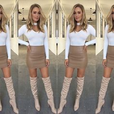 Legs 11 - an all new colour has arrived in our best selling boot - the Vanessa Thigh High in tan worn with the cutest new outfit. Entire fit online now. ⭐️ #tmbabe