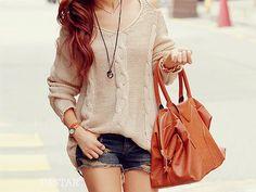 big sweater, big bag, short shorts <3