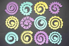 12 Cricut Flowers - Free DIY Paper Flowers Template - Domestic Heights Free set of Cricut flowers SVG templates. Free rolled paper flower SVG for commercial use. Rolled Paper Flowers, Paper Flower Art, Easy Paper Flowers, Flower Svg, Paper Flowers Wedding, Giant Paper Flowers, Felt Flowers, Diy Flowers, Fabric Flowers