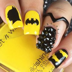 """Explore our web site for additional info on """"acrylic nail art designs rhinestones"""". It is an outstanding location to get more information. Batman Nail Designs, Batman Nail Art, Superhero Nails, Cute Nail Designs, Cute Nail Art, Beautiful Nail Art, Gorgeous Nails, Pretty Nails, Kathy Nails"""
