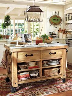 Rustic cart as an island ~ Pottery Barn