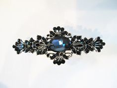 Small blue crystal hair barrette clip bridal by LindasAccessories