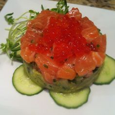 I made this Salmon Tartare using Verlasso salmon and Salmon Roe from Browne Trading Co