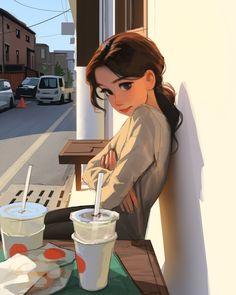 Girly Drawings, Anime Girl Drawings, Anime Art Girl, Cute Cartoon Girl Drawing, Cartoon Drawings, Cartoon Girl Images, Cartoon Art Styles, Girl Cartoon Characters, Digital Art Girl