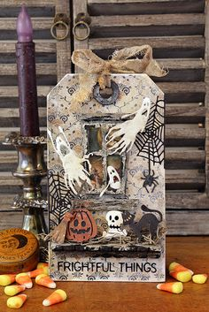 Get in the Halloween spirit with the Frightful Things Thinlits Die set by Sizzix! Halloween Shadow Box, Halloween Tags, Fall Halloween, Halloween Scrapbook, Halloween Stuff, Halloween Countdown, Halloween 2020, Halloween Ideas, Halloween Paper Crafts