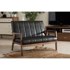 Baxton Studio Nikko Mid-century  Modern Scandinavian Style Black Faux Leather Wooden 2-Seater Loveseat - Free Shipping Today - Overstock.com - 17880010 - Mobile