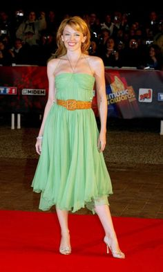 Kylie Minogue Rocks The Midi Skirt Trend With Style In This Green Dress At The NRJ Awards In France, January 2004