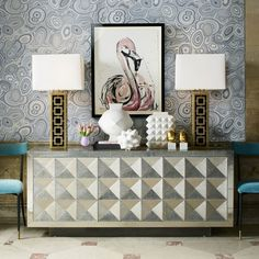 TALITHA SIDEBOARD BY JONATHAN ADLER | Make a striking aesthetic statement with the Jonathan Adler Talitha Credenza, embellished in a silver lacquer finish and faceted façade | See more at: www.bocadolobo.com #moderncabinets #luxurycabinets