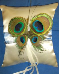 Peacock Feather Butterfly Ring Bearer Pillow by SweetTransitions, $22.00