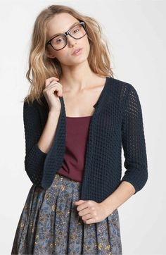 Main Image - Frenchi® Crochet Crop Cardigan (Juniors)