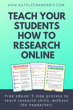 Knowing how to effectively research and filter information is an essential life skill. I suggest 5 simple steps to teaching information literacy which are summarised in a poster. Teaching Research Skills For Students Teaching Computers, School Computers, Professor, Middle School Libraries, School Library Lessons, Library Skills, Library Ideas, Gifted Education, Waldorf Education