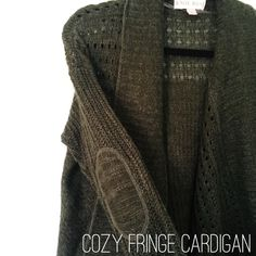 NWOT Textured & Fringed Olive Green Cardigan brand new without tags. it's hard to capture all the details of this sweater on camera. it is fringed along part of the hem and adorable elbow patches. it's a perfect layering sweater! make me an offer Knox Rose Sweaters Cardigans
