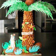 piece montee mariage original gateau voyage aventure destination iles exotiques palmiers paradisiaque arbre